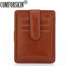 New Arrival Genuine Leather Large Capacity Business Card Case Slim Casual Credit Holder  5 Color