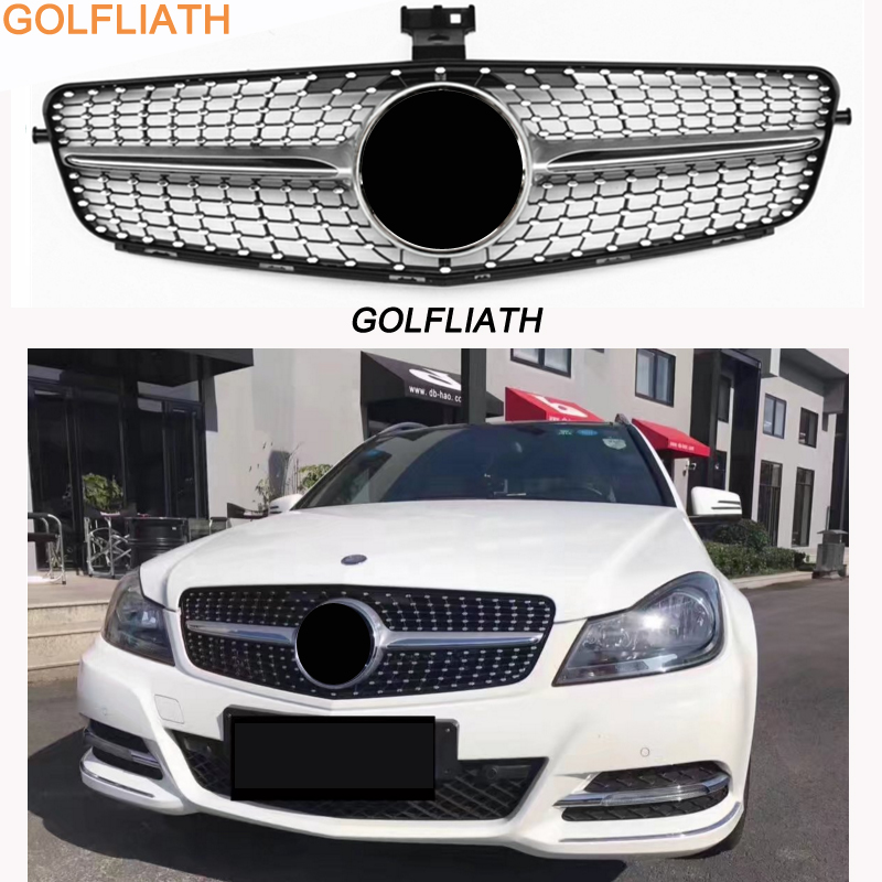 2007-2014 C63 Diamond grille front bumper grill Suitable for Mercedes Benz C-Class W204 c180 c200 c300 c250 c350 car styling led drl for mercedes benz w204 c class c180 c200 c250 c260 c300 2008 2010 led bumper daytime running lights daylight