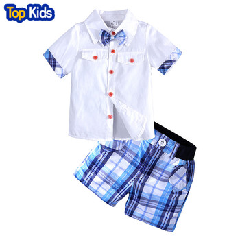 2018 Kids Boys Clothes Set Summer Children Clothing Short Sleeves Gentleman Bow Tie Shirts+Plaid Shorts Suits MB457 1