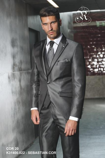 2015 New Arrival Grey Silver Wedding Suits For Men Terno Masculino Mens Suits With Pants Tuxedo Mens Suits Wedding Groom