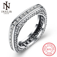 INALIS 2018 New Collection 925 Sterling Silver Square Rings Clear CZ Ring For Women Fine Jewelry