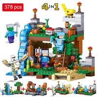 378pcs Minecrafted Figures Building Blocks Mine World 4 In 1 Garden City Building Bricks Toys Compatible