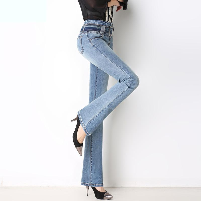 Vogue Of New Fund Of 2017 Autumn Women Cultivate One's Morality Show Thin Elastic Bootleg Jeans Trousers Wide-legged Trousers free shipping tall waist elastic hole cowgirl of cultivate one s morality show thin women s jeans