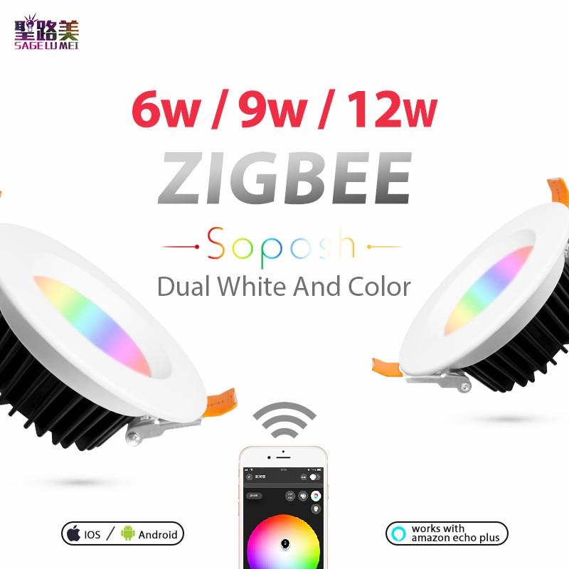 ZLL LED downlight ZIGBEE lien lumière 6 W 9 W 12 W AC100-240V rgb + cct WW/CW lumière LED lampe zigbee downlight APP travail avec Amazon Ecoh