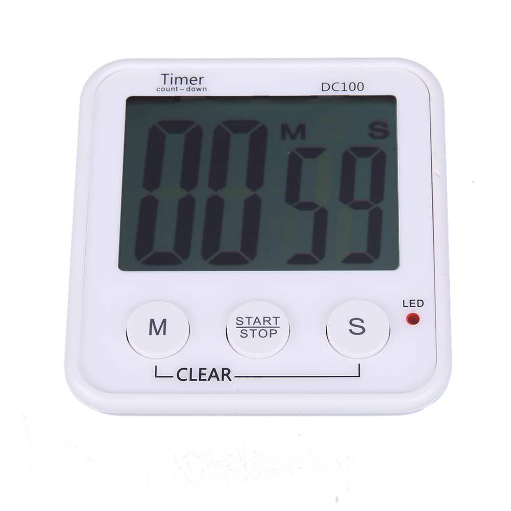 Clock Loud Alarm Magnetic Kitchen Timers Large LCD Digital Kitchen Cooking Timer Stopwatch Countdown Time Function ...