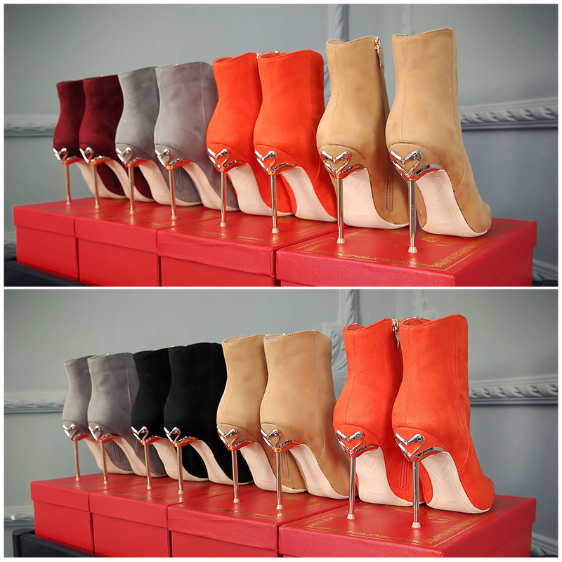 Winter newest leather ankle boots 10 cm thin heels woman boots sexy pointed toe short boots 2017 high heel boots