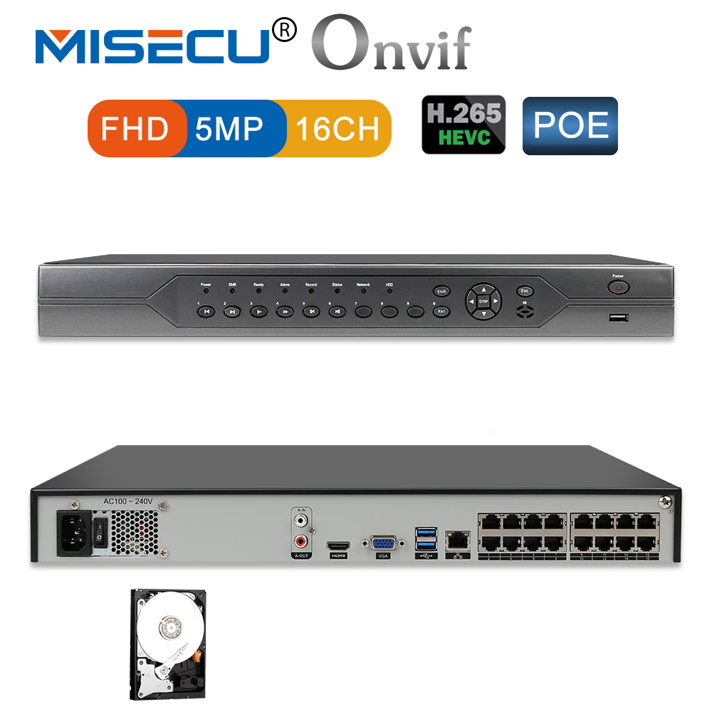 MISECU H.265 16CH 5MP 4MP 3MP 48V Real POE NVR XMEYE 802.3af P2P ONVIF Network Video Recorder for POE IP Camera CCTV System h 265 h 264 4ch 48v poe ip camera cctv nvr security surveillance cctv system p2p onvif 4 5mp 4 4mp hd network video recorder