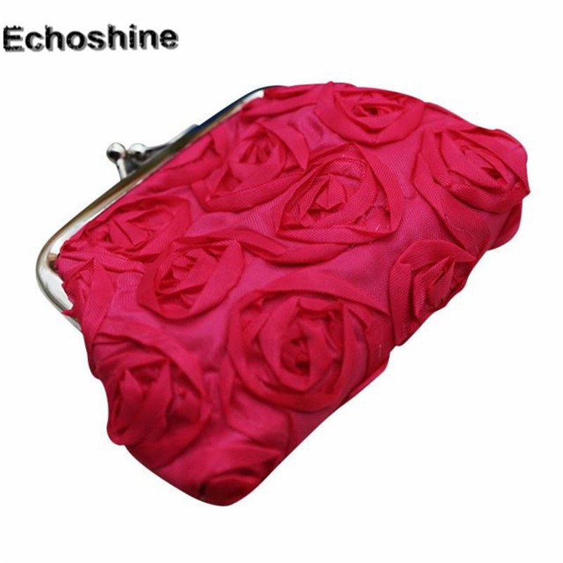 2016 new brand and fashion Womens Rose Flower Lightweight  portable Small Wallet Coin Purse Clutch Handbag Bag A1500 womens wallet card holder coin purse clutch bag handbag lightweight portable and fashionable with famous brand