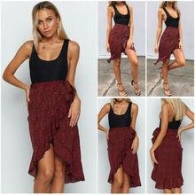 Women Leopard Print Wrap skirt Tunic Midi Skirt Ladies Party Cocktail Club Wear