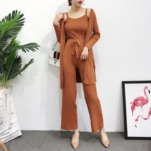 [Alphalmoda] 2017 Spring Women New Knitted Pocket Cardigans + Vest + Knitted Wide Leg Pants Three Pieces Suits