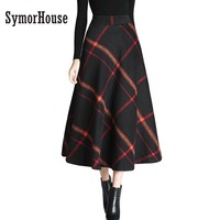 2017 Autumn Winter Women Skirt Big Swing Vintage And Retro Wool Maxi Elastic Waist Plaid Classical