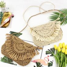 купить Women Hand Woven Shoulder Bag Tassel Straw Braided Crossbody Bags Paper Rope Hook Flower Summer Casual Beach Weaving Handbag Bag дешево