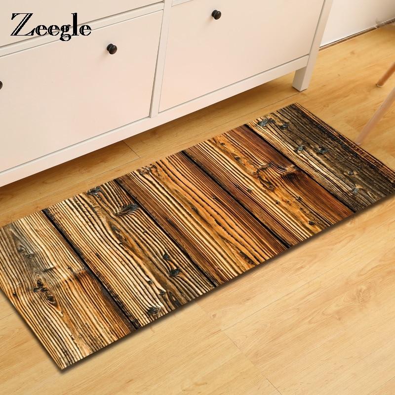 Zeegle 3D Carpet For Wooden Floor Living Room Carpet Anti-slip Children Bedroom Mat Bedside Rugs Absorbent Kitchen Mats