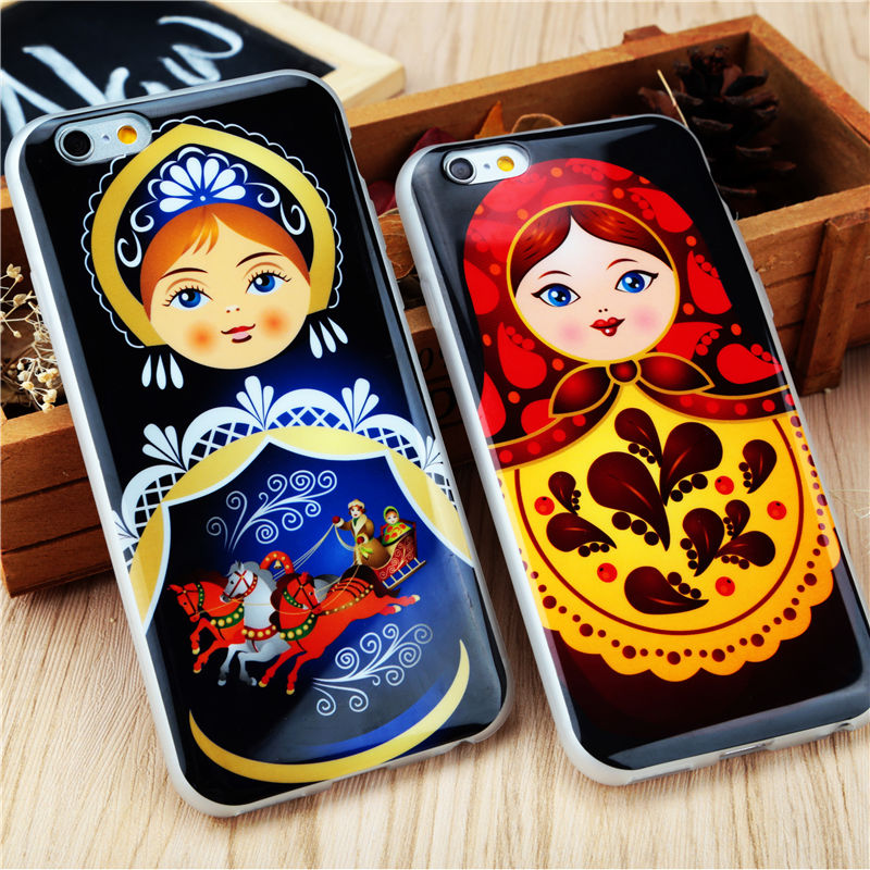 High quality Soft TPU Russian Dolls Pattern Style Cell Phone Cases for iphone 6 6S 4.7'' 5 5S SE Cover Case Wholesale Capa