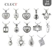 CLUCI 14 adet/takım Toptan charms Karışık Stil lockets Boncuk Inci Kafes Kolye kadınlar için Kolye/Bilezik Yapımı En Iyi aşk hediyeler