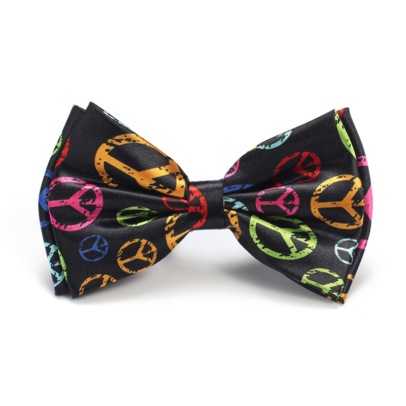 New Arrival Gentlemen Bow ties Fashion Rainbow Peace Pattern Bow tie Mens Unisex Tuxedo Dress Bowtie Party Tie