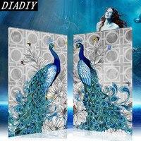2pcs Peacock Birds Rhinestone Drill DIY 5D Diamond Painting Embroidery Cross Stitch Kits Mosaic Crystal Picture