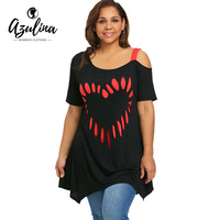 AZULINA Plus Size Short Sleeve Heart Print Tunic T Shirt Women 2018 Summer Casual Tops Pullover