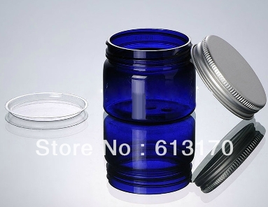 20pcs 50g blue Empty PET cream jar with inner lid Cosmetic Packaging containers Aluminium cap Mask
