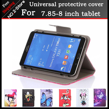 Moda patrón de dibujos animados universal stand case para 8 pulgadas tablet pc, 7.9 pulgadas universal tablet case for kids girls freeshipping + regalo