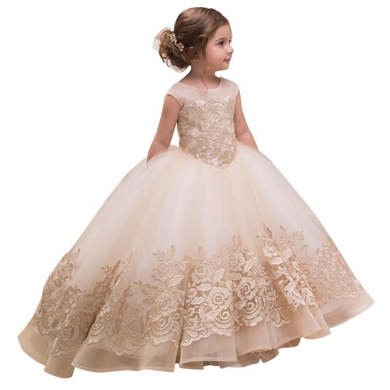 все цены на fancy little girls party dress with bow champagne girls dress vestidos menina de fiesta para nina elegant kids dresses for girls