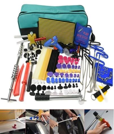 Ferramenta PDR Paintless Dent Repair Tools Kit Rod toolsDent levantador Placa Linha de Guias de Cola pistola de Cola Dent Extrator martelo Deslizante ventosa