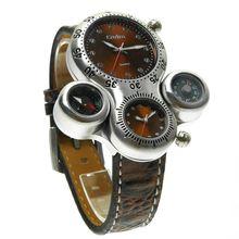 2016 nuevo regalo de Navidad Marca de Lujo de Los Hombres Reloj Militar Reloj Análogo de Doble Moviente Brújula Termómetro multifunctionwatch