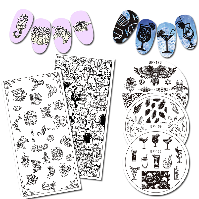 Geometric Reverse Stamping Nail Art Born Pretty Review: BORN PRETTY Round Rectangle Stamping Plate Cartoon