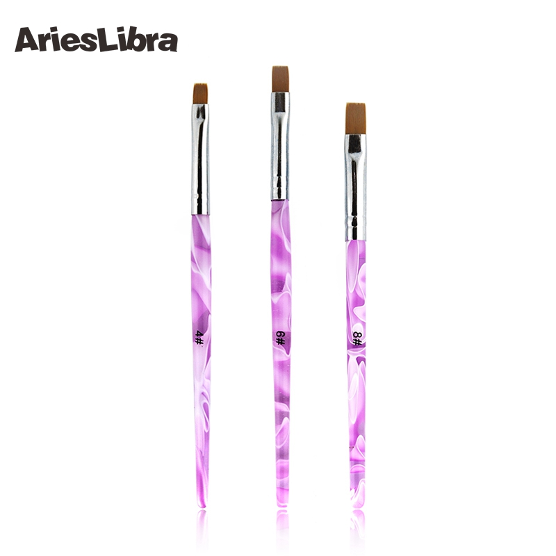 AriesLibra 3 Sizes 50pcs / set Nail Brushes Acrylic UV Gel Nail Art Tips Painting Brush Pen Builder Handle Tool best deal haicar fashion 12pcs uv gel nail art painting pen drawing french tips manicure pen brush design pen beauty tools
