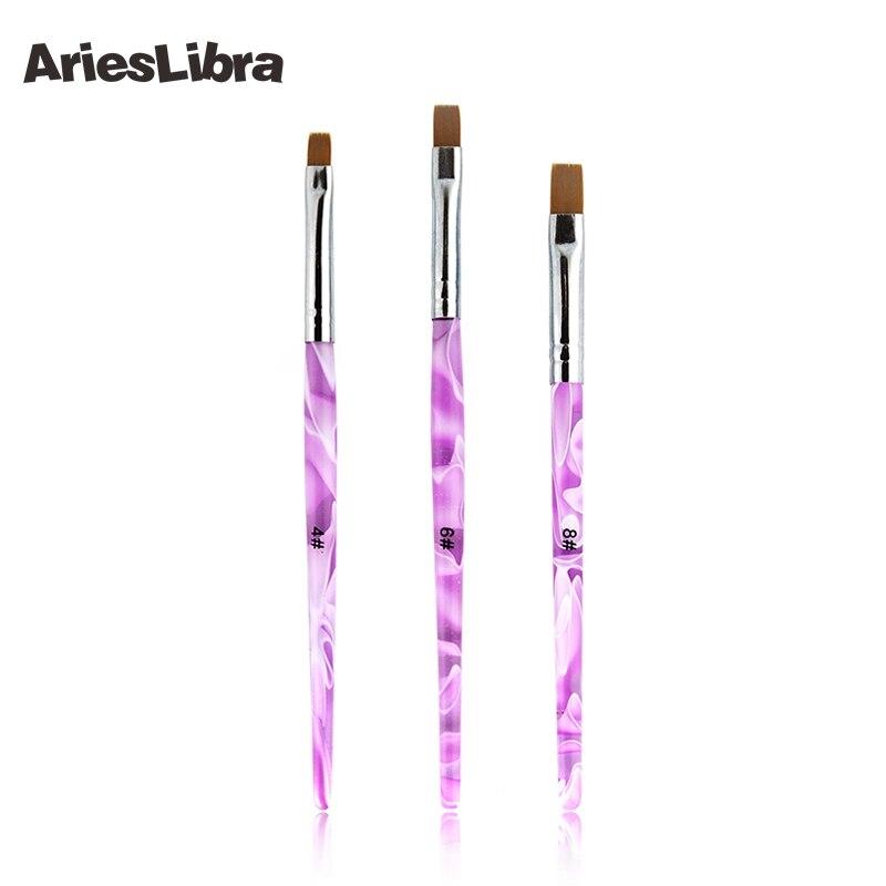 AriesLibra 3 tailles 50 pièces/ensemble brosses à ongles acrylique UV Gel ongles Art conseils peinture brosse stylo constructeur poignée outil