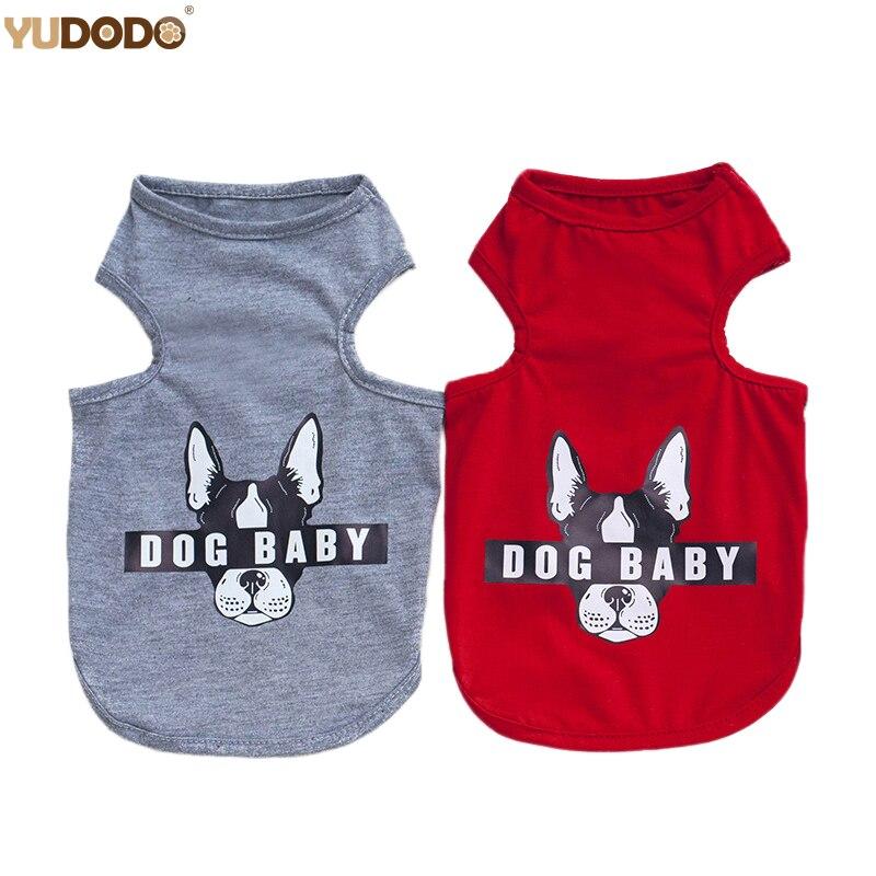 Summer Autumn Dog Clothes T Shirt For Small Pet Chihuahua Cats Cartoon Bulldog Pattern Puppy Dog Vest S-2XL