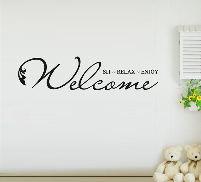 Free shipping personalized custom welcome sit relax enjoy removable vinyl romantic family quotes living room wall