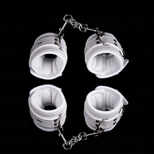 White Sexy Adjustable PU Handcuffs And Ankle Cuffs Restraints BDSM Bondage Adult Couples Fetish Products Exotic Accessories