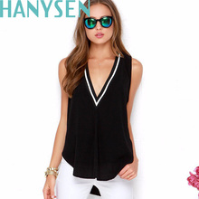 HANYSEN Brand Clothing Women Fashion T-Shirts Sleeveless V-Neck T Shirt Plus Size 6XL Solid Color Top Tees Women Cotton T-Shirt