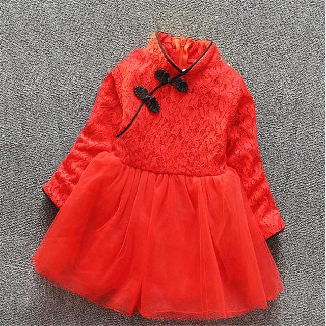2016 nuevo llega el bebé de la muchacha ropa de otoño del estilo de China de manga larga grueso hilo de encaje vestido de ropa infantil del bebé rojo