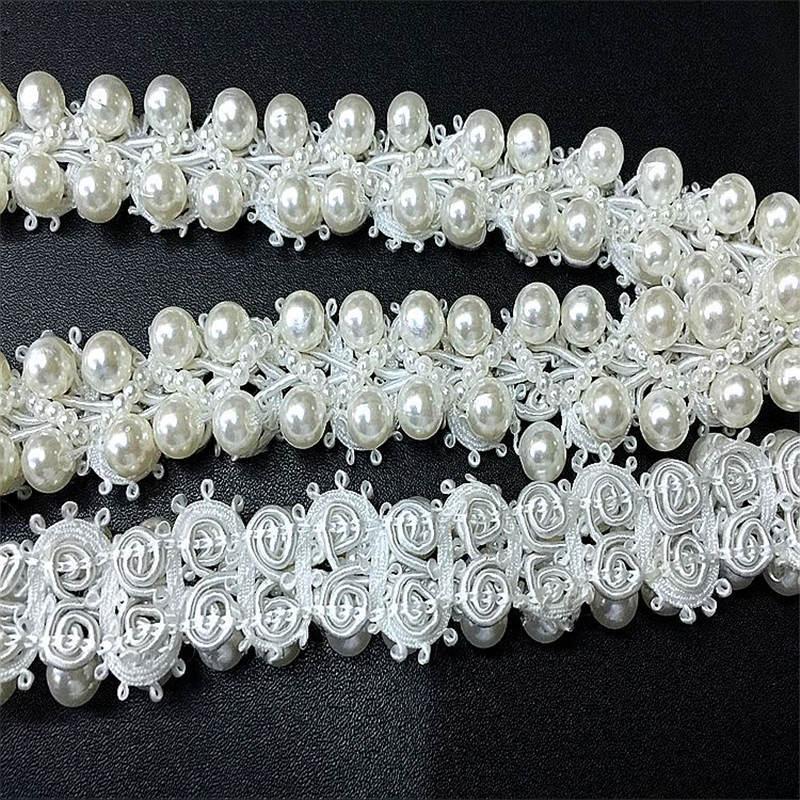 Doreenbeads имитация жемчуга лента Кружево бисером Кружево белый свадебное платье юбка сумка Шапки Аксессуары Вышивание инструмент около 0.9 м 1 шт.