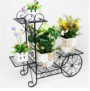 Iron Flower Stand French Multi Layer Balcony Bicycle Pot Holder