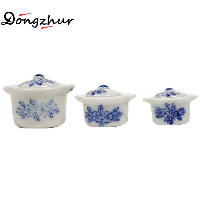 Dongzhur Miniatures 1:12 Doll House Accessories Soup Pots Dollhouse Mini Accessories Model 3pcs Ceramics Soup Pots Fast Food Toy