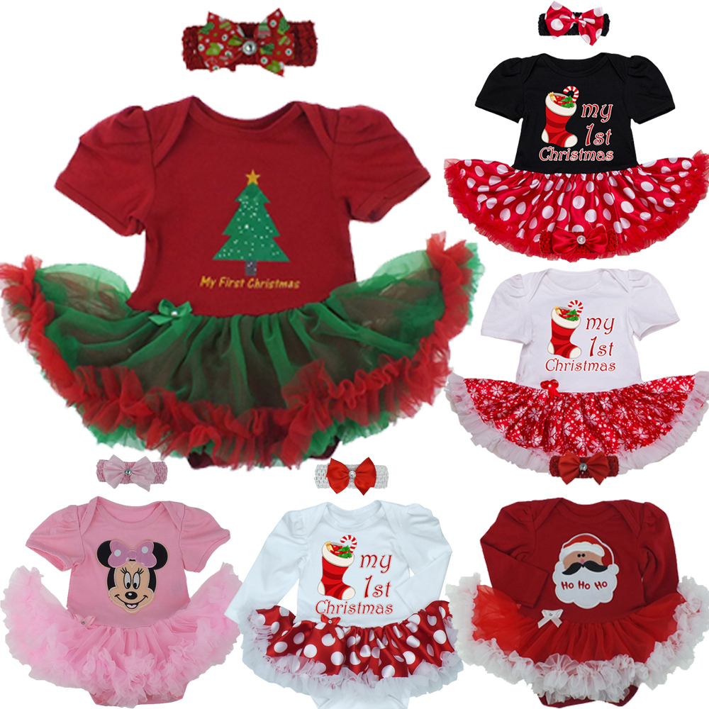 Newborn Baby Infant Girls 1st Christmas Costume Tutu Romper Dress Outfits Set Romper Santa Claus Headband Outfits 2PCS Set 0-24M newborn boys girls christmas santa claus infant new year clothes 4pcs santa christmas tops pants hat socks outfit set costume