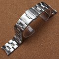 22mm Silver Steel Watch Band Strap Bracelet Solid links stainless steel metal watchbands fit 527 New Curved End promotion 2017