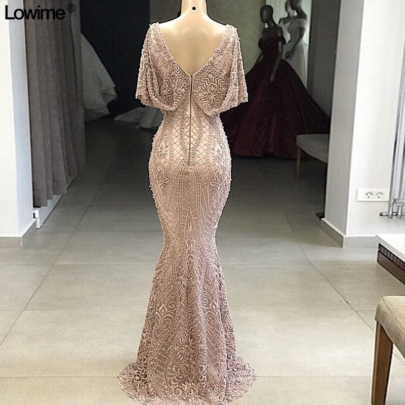 6b7fb97cd86f5 2019 New Dubai Formal Evening Dresses Mermaid Arabic Lace V-Neck Prom Party  Gowns With Beads Long Robe De Soiree Custom Made
