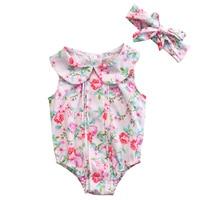 0-24M Cute Infant Baby Girl Clothes Floral Jumpsuit Bodysuit+Headband 2Pcs Sets Toddler Girls Summer Cotton Sunsuit