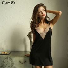 Caiyier Lace V-Neck Silk Satin Nightgown Black Sexy Lingerie Dress 2019 Backless Sling Sleepwear Ladies Nightwear Elegant
