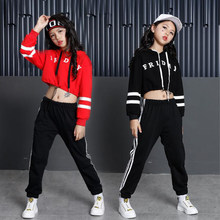 Rode Meisjes Losse Ballroom Jazz Hip Hop Danswedstrijd Kostuums Hoodie Shirt Tops Broek Kids Party Dancing wear Outfits Suits(China)