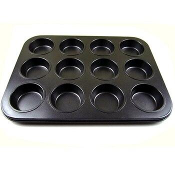 Формы для выпечки торта из углеродистой стали с антипригарным чашки плесень круглый 12 даже выпечки Торт Противень DIY плесень яйцо пироги фо...