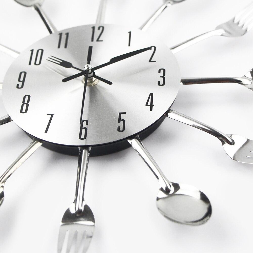 Couverts De Cuisine En Métal Horloge Murale Fourchette Cuillère Creative Quartz Mur Monté Horloges Design Moderne Décoratif Horloge Murale Vente Chaude