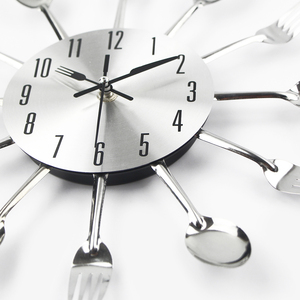 Cutlery Metal Kitchen Wall Clock Spoon Fork Creative Quartz Wall Mounted Clocks Modern Design Decorative Horloge Murale Hot Sale(China)