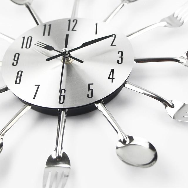 Posate di Metallo Orologio Da Parete Della Cucina Cucchiaio Forcella  Creativo orologio di Parete Del Quarzo Montato Orologi Design Moderno  Decorativo ...