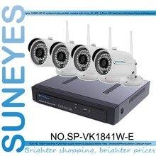 SunEyes SP-VK1841W-E1080P 4-КАНАЛЬНЫЙ HD Ip-камера ВИДЕОНАБЛЮДЕНИЯ NVR Комплект 1 SATA порт с 4 шт. HD Беспроводной Wi-Fi Мини Ip-камера Открытый P2P