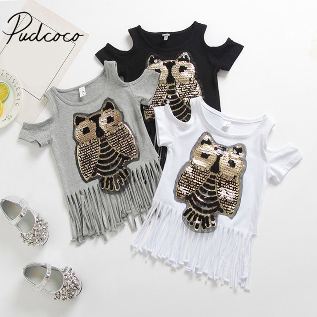 2018 Brand New Toddler Infant Child Kid Casual Sequins Owl Printed Top Baby Girl Tassel T-shirt Off Shoulder Cotton Clothes 1-6T